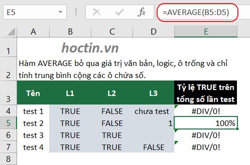 Hàm AVERAGE bỏ qua các giá trị logic khi tính trung bình cộng trong Excel