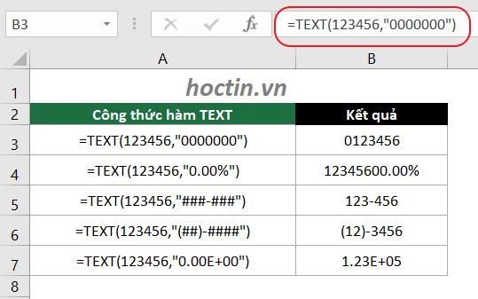 Ví Dụ Hàm Chuyển Số Thành Chuỗi Trong Excel Hàm TEXT