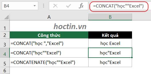 Nếu bạn quên dấu phẩy ở giữa các đối số, thì Excel sẽ hiển thị với một dấu ngoặc kép bổ sung, ví dụ hàm nối chuỗi CONCATENATE(