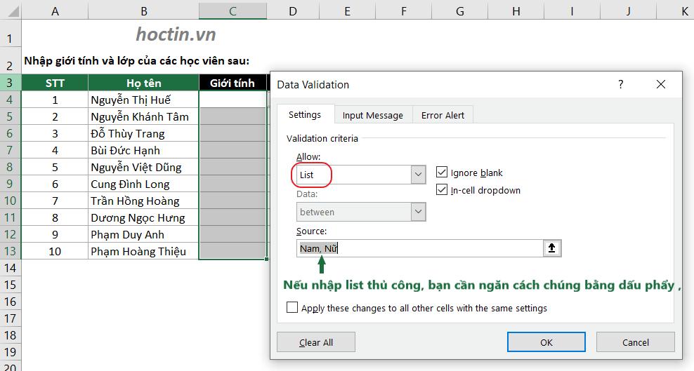 Tạo Lựa Chọn Trong Excel Đơn Giản Bằng Cách Nhập Thủ Công Dữ Liệu Vào Box Source Trong Data Validation
