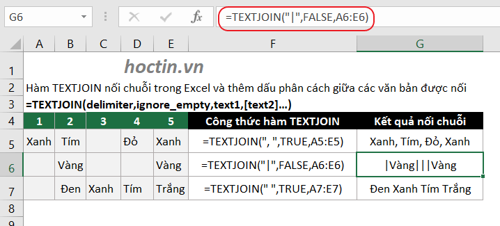 Hàm Nối Chuỗi Trong Excel Ghép Text Trong Excel Với Hàm TEXTJOIN