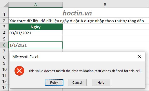 Excel báo lỗi khi nhập dữ liệu chưa được xác thực theo Data Validation