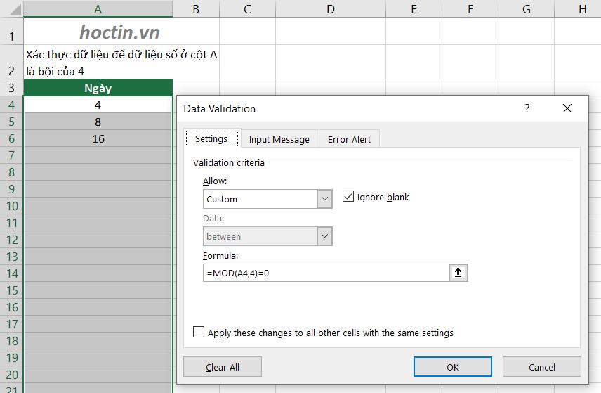 Sử dụng data validation nâng cao kết hợp hàm MOD Để Điều Kiện Số Được Nhập Phải Là Bội Số Của 1 Số