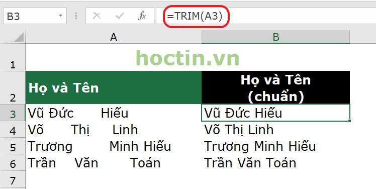Hàm TRIM trong Excel cắt khoảng trắng thừa giữa các từ trong chuỗi văn bản