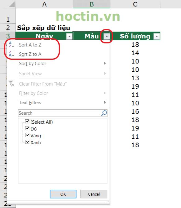 Cách Sắp Xếp Thứ Tự Bảng Chữ Cái ABC Alphabet Trong Excel