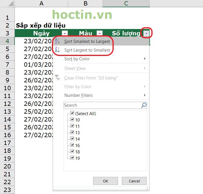 Cách Sắp Xếp Cột Theo Thứ Tự Tăng Dần Trong Excel