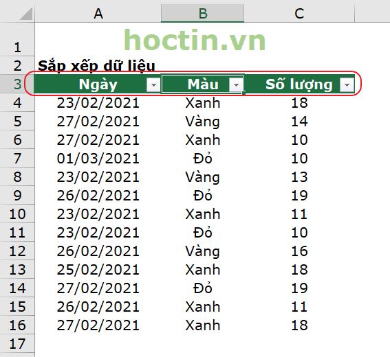 Sau khi tạo bộ lọc Filter để sắp xếp trong Excel, hàng tiêu đề xuất hiện các mũi tên hướng xuống