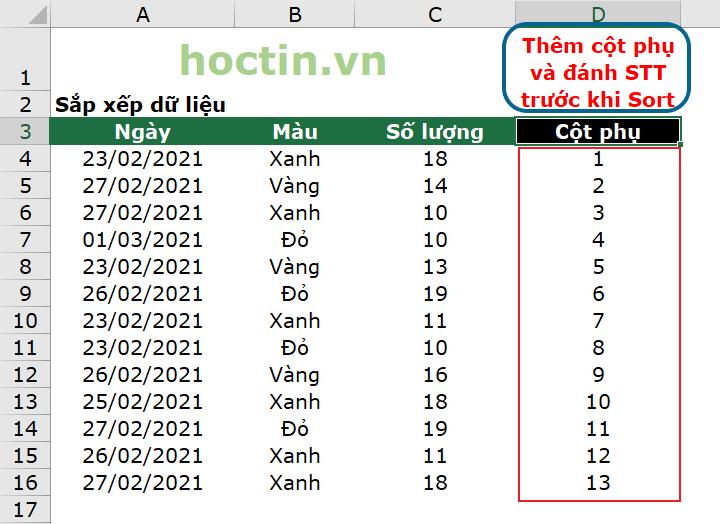 Cách Bỏ SORT Trong Excel Bằng Cách Thêm Một Cột Phụ Và Đánh Số Thứ Tự Cột Phụ Trước Khi Tạo Bảng Filter.