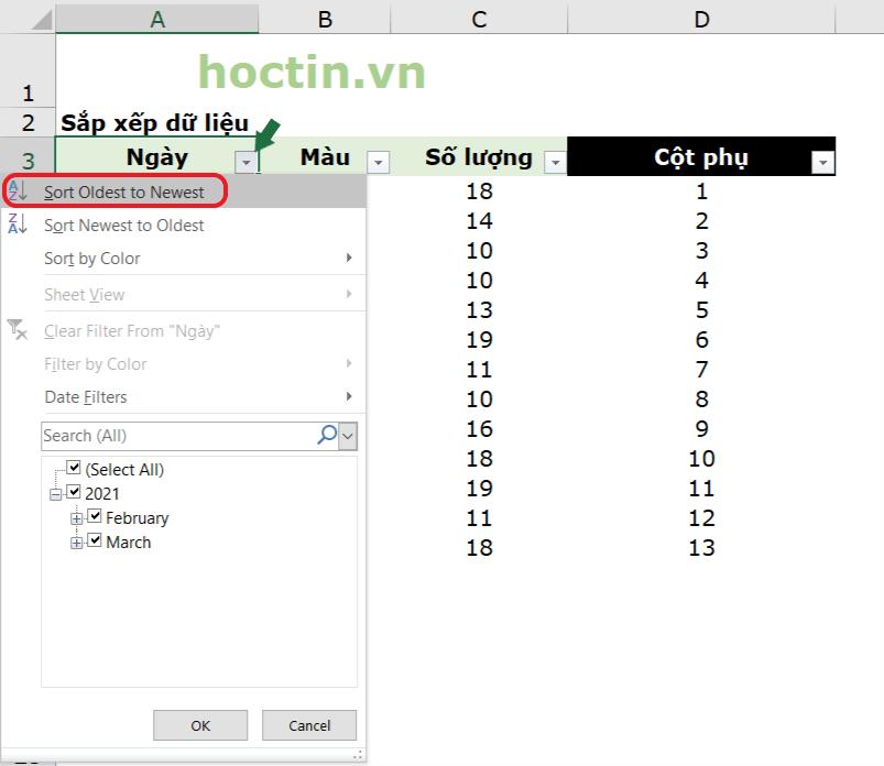 Tạo Filter (Bộ Lọc) Cho Bảng Dữ Liệu Và Sắp Xếp Dữ Liệu Theo Cột Yêu Cầu