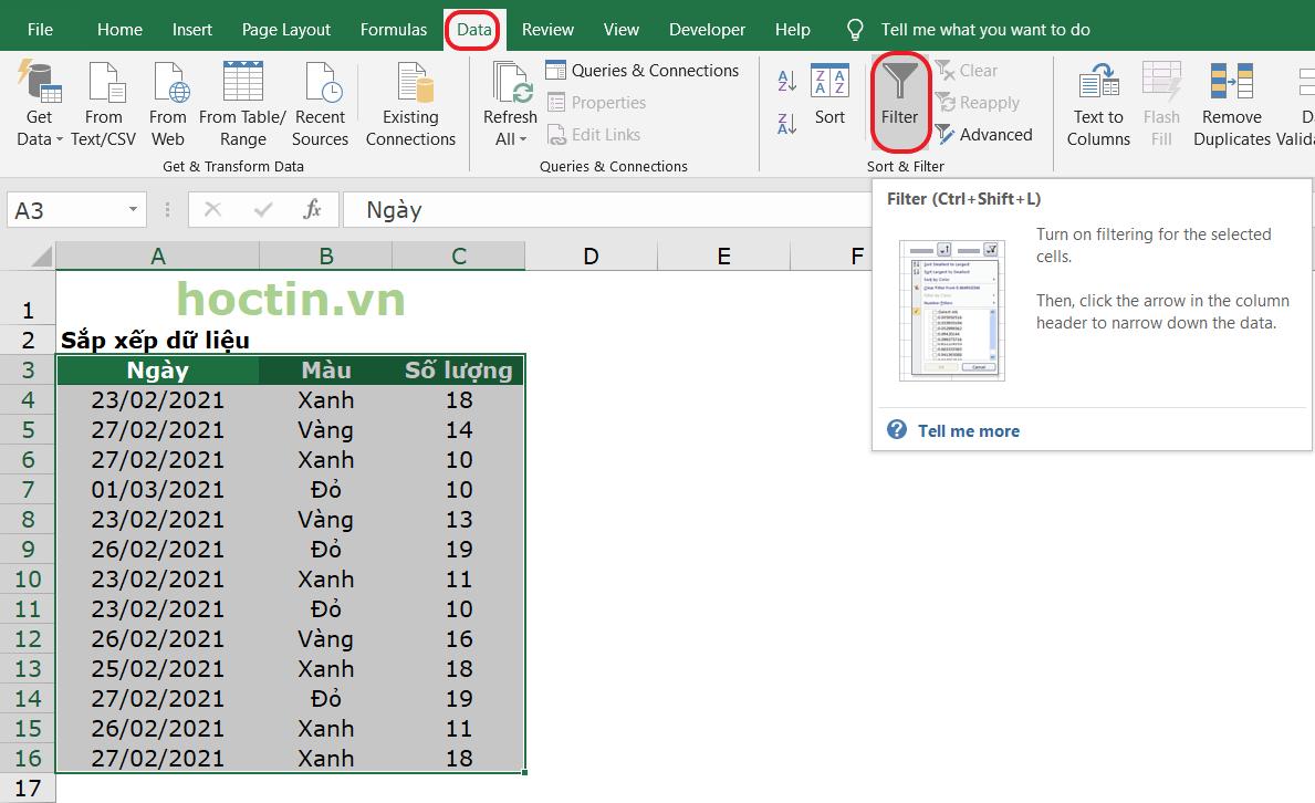 cách tạo Sort sắp xếp trong Excel