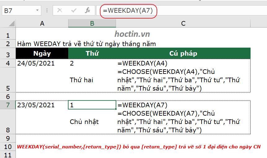 Hàm WEEKDAY Hàm lấy thứ ngày trong Excel