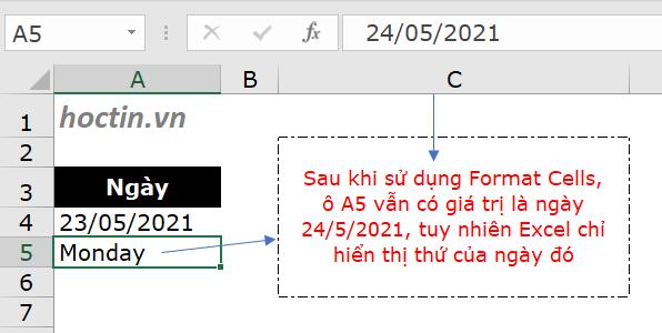 cách tính thứ khi biết ngày tháng năm với định dạng ngày tháng trong Excel